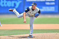 Columbia Fireflies pitcher Tylor Megill (35) delivers a pitch during a game against the Asheville Tourists at McCormick Field on June 23, 2019 in Asheville, North Carolina. The Fireflies defeated the Tourists 11-9. (Tony Farlow/Four Seam Images)