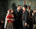 """English Touring Opera presents """"Don Giovanni"""", by Wolfgang Amadeus Mozart, at the Hackney Empire.  Directed by Lloyd Wood, with set & costume design by Anna Fleischle and lighting design by Guy Hoare. Picture shows:  Lucy Hall (Zerlina), George von Bergen (Don Giovanni), Bradley Travis (Masetto)."""
