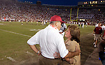 Talking on the sidelines with his wife Ann Florida State head coach Bobby Bowden became the winningest active Division 1 college football coach in America wtih 339 wins. His Seminoles defeated Wake Forest, 48-22, in Tallahassee October 25, 2003. (Mark Wallheiser/TallahasseeStock.com)