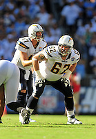 Sep. 20, 2009; San Diego, CA, USA; San Diego Chargers tackle (62) Brandyn Dombrowski against the Baltimore Ravens at Qualcomm Stadium in San Diego. Baltimore defeated San Diego 31-26. Mandatory Credit: Mark J. Rebilas-