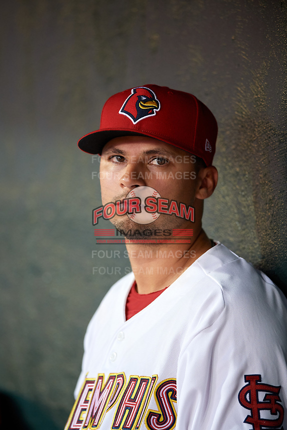 Memphis Redbirds Arturo Reyes (13) in the dugout during a game against the Round Rock Express on April 28, 2017 at AutoZone Park in Memphis, Tennessee.  Memphis defeated Round Rock 9-1.  (Mike Janes/Four Seam Images)