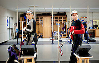 Caitlin Morrissey (cq, left) and Mattie Brogdon (cq), with the Texas Christian University Women's Rifle Team, prepare for a qualifying shooting match at the TCU campus in Ft. Worth, Texas, Saturday, February 12, 2011. The TCU team is undefeated this season and won the national championship last year to become the first all women's team to win the championship...CREDIT: Matt Nager for The Wall Street Journal