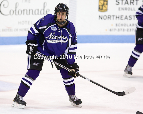 Paul Zanette (Niagara - 9) - The visiting Niagara University Purple Eagles defeated the Northeastern University Huskies 4-1 on Friday, November 5, 2010, at Matthews Arena in Boston, Massachusetts.
