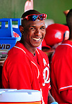 20 June 2010: Washington Nationals' outfielder Nyjer Morgan smiles in the dugout during a game against the Chicago White Sox at Nationals Park in Washington, DC. The Nationals were swept by the White Sox falling 6-3 in the last game of their 3-game interleague series. Mandatory Credit: Ed Wolfstein Photo