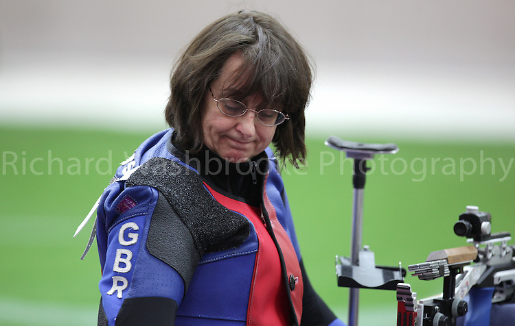 Paralympics London 2012 - ParalympicsGB - Shooting Womens R2-10m Air Rifle Standing - SH1 Heats 30th August 2012.  .Amanda Pankhurst competing in the Womens R2-10m Air Rifle Standing - SH1 Heats at the Paralympic Games in London. Photo: Richard Washbrooke/ParalympicsGB