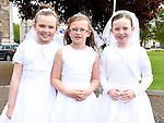 Alanah Cunningham, Aoibhinn Cunningham and Caitlín Mackin who received First Holy Communion in the Church of the Nativity Ardee. Photo:Colin Bell/pressphotos.ie