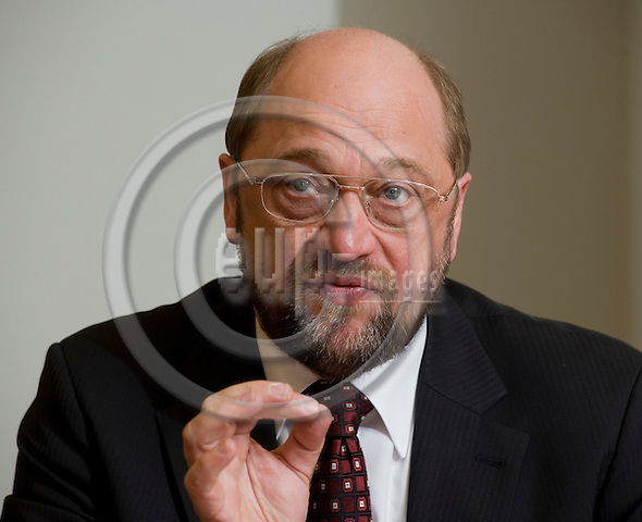 Brussels-Belgium, March 19, 2010 -- MEP Martin SCHULZ (S&D/SPD/DE) from Germany, Chairman of the Group of the Progressive Alliance of Socialists and Democrats in the European Parliament, during a press briefing in the EP  -- Photo: Horst Wagner / eup-images