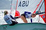United States29erWomenCrewUSAET35LizaToppa<br /> United States29erWomenHelmUSAAT40AlieToppa<br /> Day1, 2015 Youth Sailing World Championships,<br /> Langkawi, Malaysia