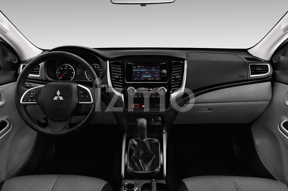 Stock photo of straight dashboard view of a 2018 Mitsubishi L200 Intense 2 Door Pick Up