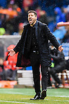 Coach Diego Simeone of Atletico de Madrid reacts during their La Liga match between Atletico de Madrid and RC Celta de Vigo at the Vicente Calderón Stadium on 12 February 2017 in Madrid, Spain. Photo by Diego Gonzalez Souto / Power Sport Images