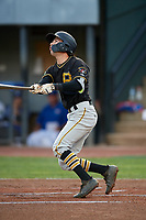 Bristol Pirates second baseman Chase Lambert (2) follows through on a swing during the second game of a doubleheader against the Bluefield Blue Jays on July 25, 2018 at Bowen Field in Bluefield, Virginia.  Bristol defeated Bluefield 5-2.  (Mike Janes/Four Seam Images)