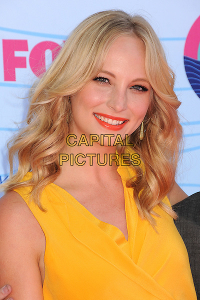 Candice Accola.Teen Choice Awards 2012 - Arrivals held at Gibson Amphitheatre, Universal City, California, USA..July 22nd, 2012.headshot portrait yellow sleeveless pink lipstick .CAP/ADM/BP.©Byron Purvis/AdMedia/Capital Pictures.