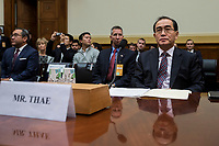 Former Deputy Chief of Mission, Embassy of the Democratic People's Republic of Korea in the United Kingdom, a North Korean defector to South Korea, Thae Yong-ho testifies before the United States House of Representatives Committee on Foreign Affairs on Capitol Hill on November 1, 2017. <br /> Credit: Alex Edelman / CNP /MediaPunch