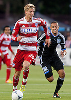 Santa Clara, California - Saturday July 18, 2012: FC Dallas' Brek Shea dribbles away from San Jose Earthquakes' Jason Hernandez during a game at Buck Shaw Stadium, Stanford, Ca   San Jose Earthquakes defeated FC Dallas 2 - 1.