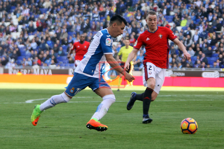 League Santander 2016/2017. Game: 24.<br /> RCD Espanyol vs CA Osasuna: 3-0.<br /> Hernan Perez vs Carlos Clerc.