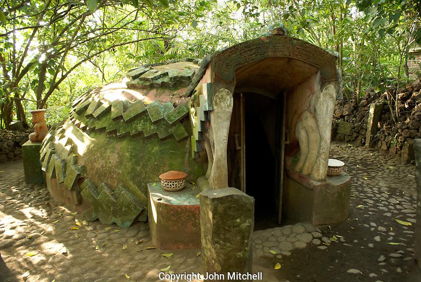 Ritual steam bath or Temazcal at the Reserva Ecologica de Nanciyaga,  an ecological reserve and ecolodge on Laguna Catemaco, Veracruz, Mexico