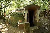 Ritual steam bath or Temazcal at the Reserva Ecologica de Nanciyaga,  an ecological reserve and ecolodge on Laguna Catemaco, Veracruz, Mexico