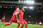 Georginio Wijnaldum of Liverpool celebrates during the English Premier League match at Anfield Stadium, Liverpool. Picture date: December 31st, 2016. Photo credit should read: Lynne Cameron/Sportimage