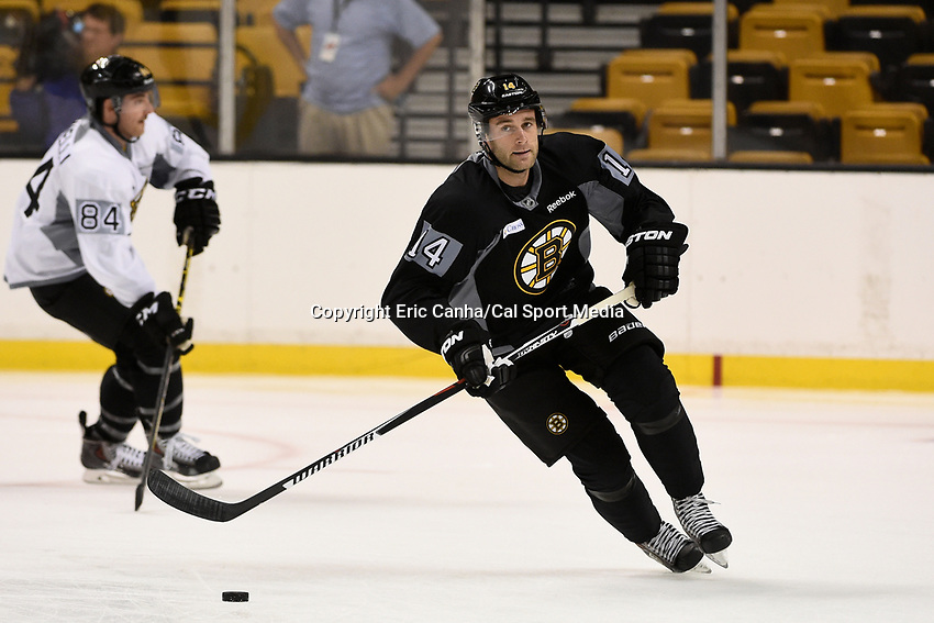 September 18, 2015 - Boston, Massachusetts, U.S. - Boston Bruins right wing Brett Connolly (14) skates in a drill during the Boston Bruins training camp held at TD Garden in Boston Massachusetts. Eric Canha/CSM