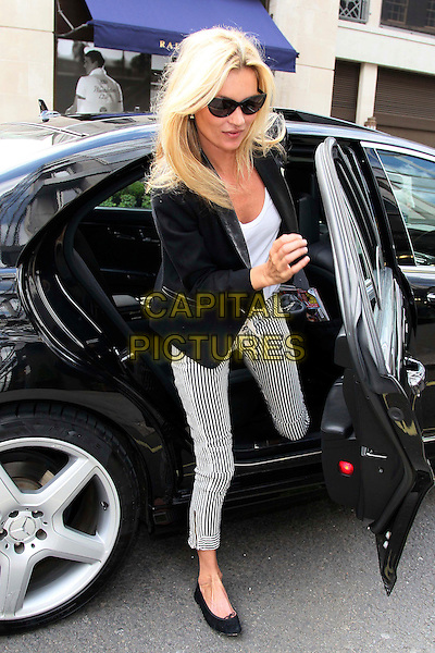 Kate Moss out and about in Central London, London, England..June 20th, 2011.sighting spotted full length black jacket blazer white striped stripes cropped trousers sunglasses shades car.CAP/HIL.©John Hillcoat/Capital Pictures .