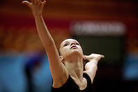 """Marina Shpekht of Russia closeup during training before senior All-Around at 2007 World Cup Kiev, """"Deriugina Cup"""" in Kiev, Ukraine on March 15, 2007."""
