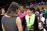 DURHAM, NC - FEBRUARY 04: Notre Dame head coach Muffet McGraw (right) and Duke head coach Joanne P. McCallie (left) before the game. The Duke University Blue Devils hosted the University of Notre Dame Fighting Irish on February 4, 2018 at Cameron Indoor Stadium in Durham, NC in a Division I women's college basketball game. Notre Dame won the game 72-54.