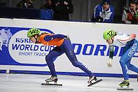 SCHAATSEN: DORDRECHT: Sportboulevard, Korean Air ISU World Cup Finale, 10-02-2012, Rianne de Vries NED (149), Cecillia Maffei ITA (127), ©foto: Martin de Jong