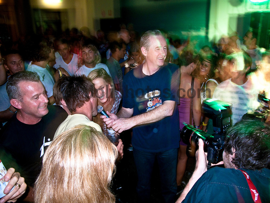 "Coolangatta, Queensland/Australia (Friday, March 5, 2010) - Australia's Tracks surfing magazine held a 40 Year Birthday bash at the Sands Hotel in Coolangatta. 80's band Ganggajang played live to a packed house. Tom Carroll (AUS) and Gary 'Kong"" Elkerton (AUS) were hounored during the night..Photo: joliphotos.com"