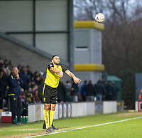 5th January 2020; Pirelli Stadium, Burton Upon Trent, Staffordshire, England; English FA Cup Football, Burton Albion versus Northampton Town; Colin Daniel of Burton Albion taking a throw in from the side line - Strictly Editorial Use Only. No use with unauthorized audio, video, data, fixture lists, club/league logos or 'live' services. Online in-match use limited to 120 images, no video emulation. No use in betting, games or single club/league/player publications