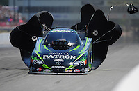 May 5, 2012; Commerce, GA, USA: NHRA funny car driver Alexis DeJoria during qualifying for the Southern Nationals at Atlanta Dragway. Mandatory Credit: Mark J. Rebilas-