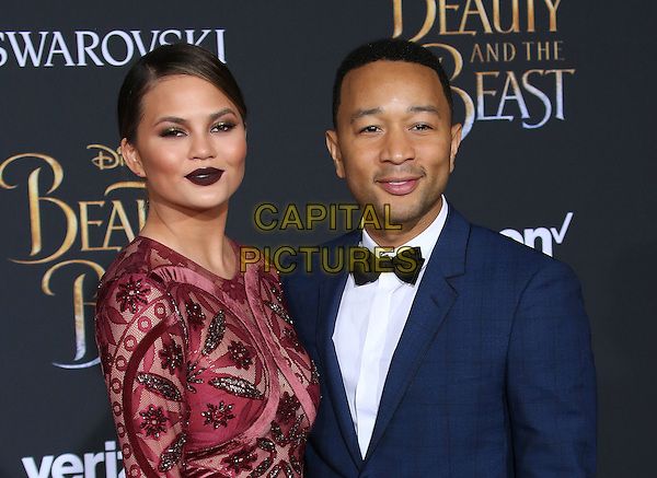 02 March 2017 - Hollywood, California - Chrissy Teigen, John Legend. Disney's &quot;Beauty and the Beast' World Premiere held at El Capitan Theatre.   <br /> CAP/ADM/FS<br /> &copy;FS/ADM/Capital Pictures