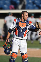 Aaron Barnett #33 of the Pepperdine Waves at catcher during a game against the Tulane Green Wave at Eddy D. Field Stadium on March 13, 2015 in Malibu, California. Tulane defeated Pepperdine, 9-3. (Larry Goren/Four Seam Images)