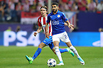 Atletico de Madrid's Filipe Luis (l) and Leicester City FC's Riyad Mahrez during Champions League 2016/2017 Quarter-finals 1st leg match. April 12,2017. (ALTERPHOTOS/Acero)