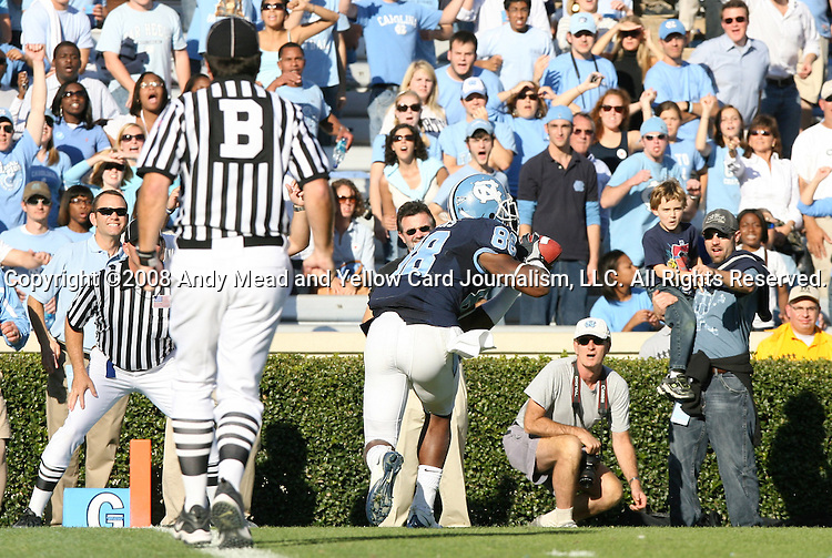08 November 2008: North Carolina's Hakeem Nicks catches a late touchdown pass. The University of North Carolina Tarheels defeated the Georgia Tech University Yellow Jackets 28-7 at Kenan Stadium in Chapel Hill, NC in an NCAA Division I and Atlantic Coast Conference football game.