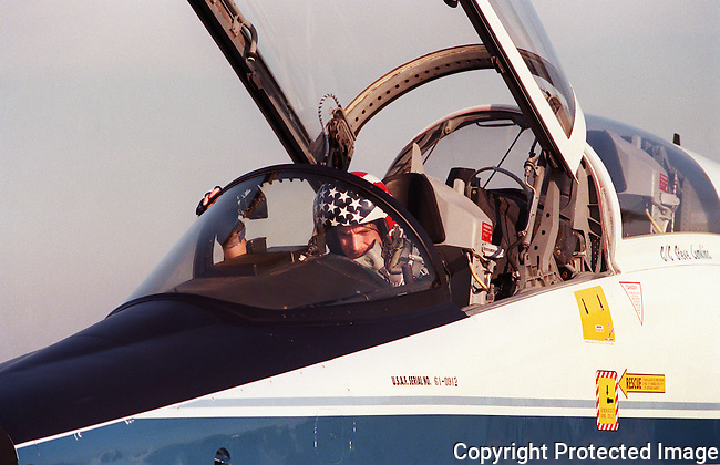 ADVANCE FOR SUNDAY--NASA astronaut, Scott Kelly, pilot of STS-103, in the cockpit of his T-38 aircraft at NASA Aircraft Ops at Ellington Field in Houston, Texas, Friday, Sept. 10, 1999, prior to taking off for Edwards Air Force Base in California for an evening of practice landings in the (STA) Shuttle Training Aircraft.(Brian Myrick)