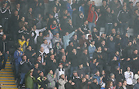 Swansea City fans celebrate during the Barclays Premier League match between Swansea City and Liverpool played at the Liberty Stadium, Swansea on 1st May 2016
