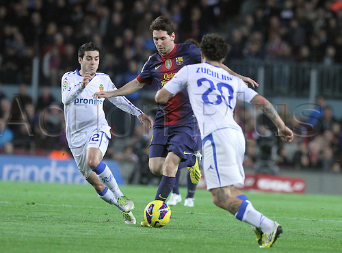 17.11.2012 Barcelona. Spain. La Liga. Picture shows Leo Messi in action during match between  FC Barcelona against Zaragoza at Camp Nou. Barcelona won the game by a score of 3-1.