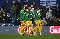 Preston North End's Alan Browne celebrates with Brad Potts, Jordan Storey and Lukas Nmecha after scoring his side's third goal<br /> <br /> Photographer Rob Newell/CameraSport<br /> <br /> The EFL Sky Bet Championship - Queens Park Rangers v Preston North End - Saturday 19 January 2019 - Loftus Road - London<br /> <br /> World Copyright © 2019 CameraSport. All rights reserved. 43 Linden Ave. Countesthorpe. Leicester. England. LE8 5PG - Tel: +44 (0) 116 277 4147 - admin@camerasport.com - www.camerasport.com