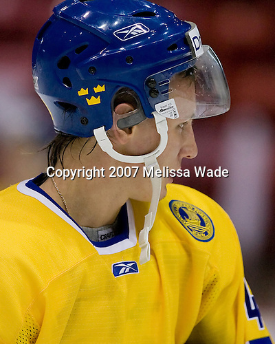 Kristofer Berglund (Sweden/IF Bjorkloven - Umea, Sweden) - USA Team White defeated Team Sweden 9-2 on Friday, August 10, 2007, at the 1980 Rink at Lake Placid, New York during the Summer Hockey Challenge.