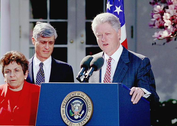 3-30-99.SOCIAL SECURITY--Secretary of Health and Human Services Donna Shalala, Treasury Secretary Robert Rubin and President Bill Clinton during a Social Security press conference at the White House Rose Garden..CONGRESSIONAL QUARTERLY PHOTO BY DOUGLAS GRAHAM