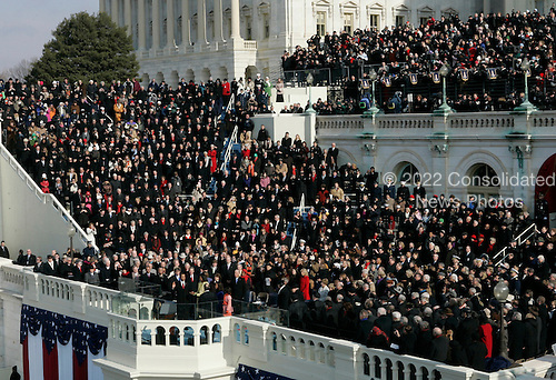 Washington, DC - January 20, 2009 -- Barack H. Obama is sworn-in as the 44th President of the United States during the inauguration ceremony on the West Front of the United States Capitol in Washington, DC, Tuesday, January 20, 2009..Credit: Jim Bourg - Pool via CNP