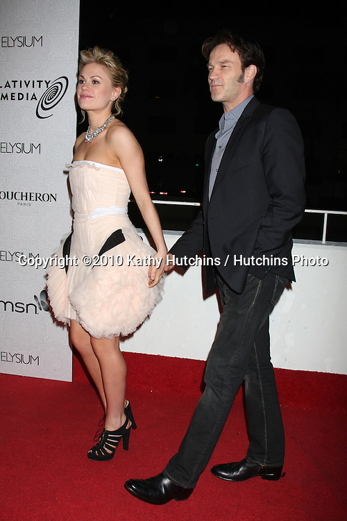 Anna Paquin & Stephen Moyer .arriving at the 3rd Annual Art of Elysium Gala.Rooftop of Parking Garage across from Beverly Hilton Hotel.Beverly Hills, CA.January 16, 2010.©2010 Kathy Hutchins / Hutchins Photo....