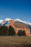 Saint Ignatius Mission building and Mission Mountains in western Montana