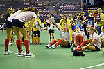 Berlin, Germany, February 01: Players of Duesseldorfer HC celebrate after defeating HTC Uhlenhorst Muehlheim 4-1 <br /> to win the Deutsche Meisterschaft on February 1, 2015 at the Final Four tournament at Max-Schmeling-Halle in Berlin, Germany. Final score 4-1 (1-0). (Photo by Dirk Markgraf / www.265-images.com) *** Local caption ***