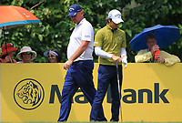 Thomas Bjorn (DEN) and Rio Ishikawa (JPN) on the 8th tee during Round 2 of the Maybank Championship at the Saujana Golf and Country Club in Kuala Lumpur on Friday 2nd February 2018.<br /> Picture:  Thos Caffrey / www.golffile.ie<br /> <br /> All photo usage must carry mandatory copyright credit (&copy; Golffile | Thos Caffrey)