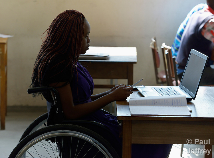 Irene Phiri uses a wheelchair to get around the National Rehabilitation Centre in Ruwa, Zimbabwe, where she is a student. Her wheelchair, which was carefully fitted to her individual needs, was provided by the Jairos Jiri Association with support from CBM-US.