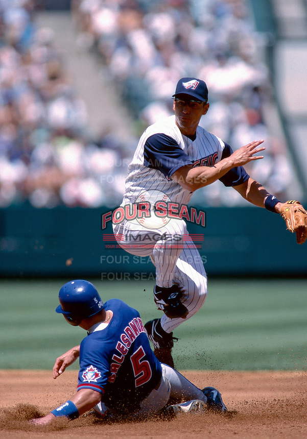 Randy Velarde of the Anaheim Angels plays in a baseball game at Edison International Field during the 1998 season in Anaheim, California. (Larry Goren/Four Seam Images)
