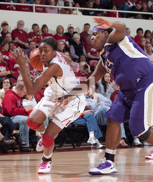 STANFORD, CA - February 12, 2011: Nnemkadi Ogwumike of the Stanford Cardinal women's basketball team during Stanford's 62-52 win over Washington at Maples Pavilion.