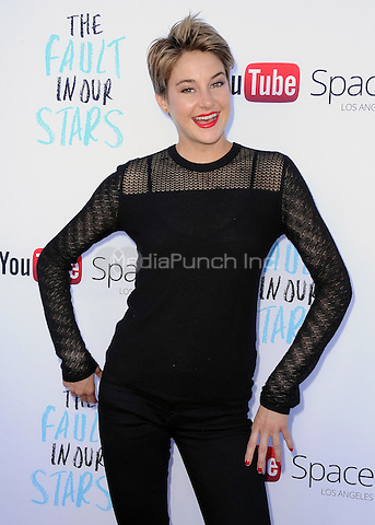 "LOS ANGELES, CA - MAY 14:  Shailene Woodley at ""The Fault In Our Stars"" Live Stream Event at YouTube Space LA on May 14, 2014 in Los Angeles, California. Credit:  PGSK/MediaPunch"
