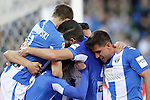 CD Leganes' players celebrate goal during La Liga match. February 25,2017. (ALTERPHOTOS/Acero)